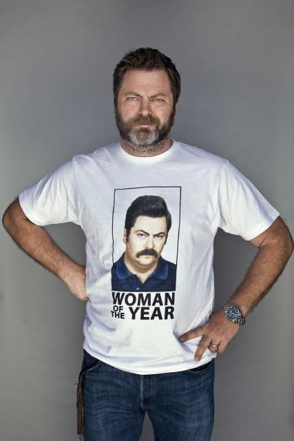 "LOS ANGELES, CA -- MAY 9, 2011--Actor Nick Offerman, who plays Ron Swanson on NBC's ""Parks and Recreation,"" is photographed wearing a shirt bearing his character's portrait, inside his real wood-working shop in Los Angeles, May 9, 2011. Offerman's character is often seen wearing humurous t-shirts with his face and catch-phrases from the show, including ""Woman of the Year,"" and ""Swanson Pyramid of Greatness."" (Photo by Jay L. Clendenin/Los Angeles Times)"