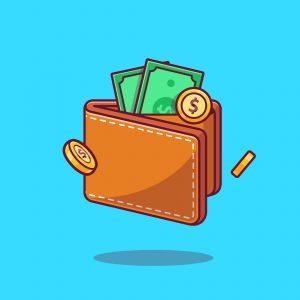 ארנק עם מטבעות ושטרות של כסף